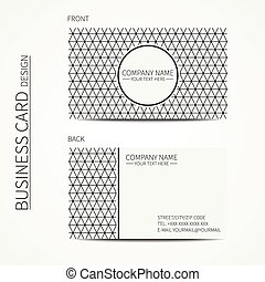 Geometric monochrome business card template with triangle...