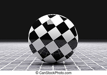 checkered flag - 3d rendering of a checkered flag on a...