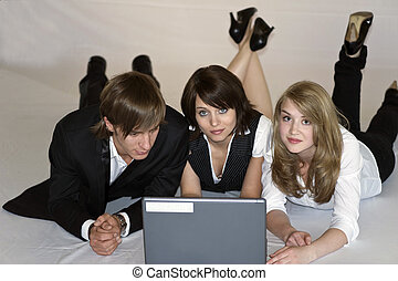 at the laptop