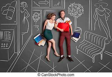 Shopping time - Love story concept of a romantic couple on...
