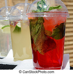 Fresh lemonade with mint leaves - Fresh cold lemonade with...