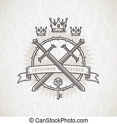 Abstract tattoo style line art emblem with heraldic and...