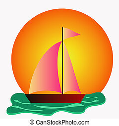 boat on the sea - colorful boat on the sea illustration