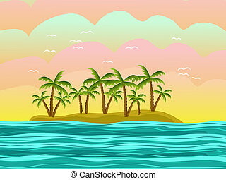 island with palms - island with green palms illustration
