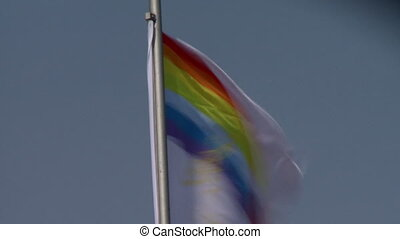 Russian flag fluttering in wind, close-up - View of Russian...