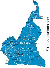 Cameroon map - Highly detailed vector map of Cameroon with...