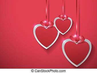 Valentines Day. Paper Hearts Hanging with Ribbon on Pink Background