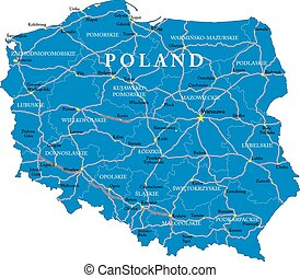 Poland map - Highly detailed vector map of Poland with...