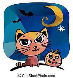 halloween cat - Halloween cat and pumpkin on a blue...
