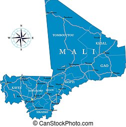 Mali map - Highly detailed vector map of Mali with...