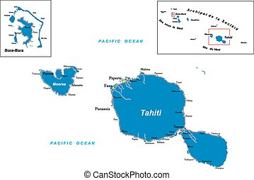 Tahiti and Bora-Bora map - Highly detailed vector map of...