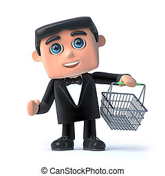 3d Bow tie spy goes shopping - 3d render of a man in a bow...