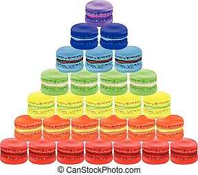 Pyramid of macaroon. Vector illustration on white background