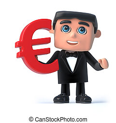 3d Bow tie spy holds Euro currency symbol - 3d render of a...