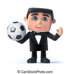 3d Bow tie spy loves football - 3d render of a man wearing a...