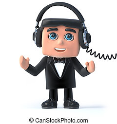 3d Bow tie spy listens on his headphones - 3d render of a...