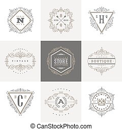 Set of monogram logo template - Monogram logo template with...