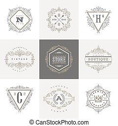 セット, の, monogram, ロゴ, テンプレート,