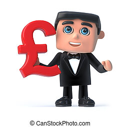 3d Bow tie spy holds UK Pounds Sterling currency symbol - 3d...