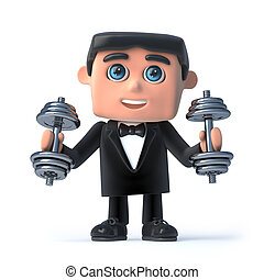 3d Bow tie spy exercising with weights - 3d render of a man...
