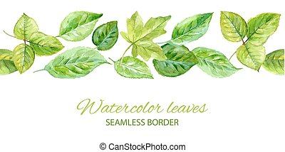Horizontal seamless background with green leaves. watercolor...