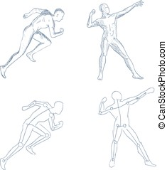 human in motion artistic sketch with shading vector