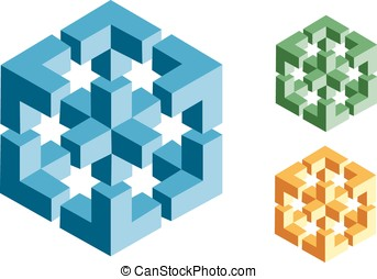 different multicolored optical illusions of unreal...
