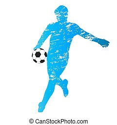Scratched vector silhouette of young soccer goalie