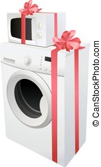 washing machine and microwave with red gift ribbon, vector