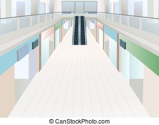 shopping mall with two floors, vector