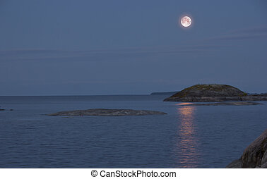 Lake Ladoga, Karelia - moonlight on lake Ladoga, North of...