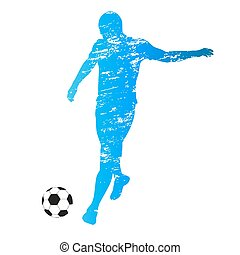 Scratched vector silhouette of soccer player