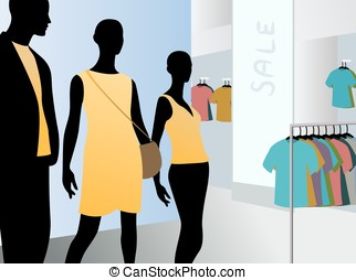 window in fashion dress market with black mannequins in...