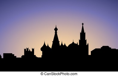 silhouette of Moscow city, Russia, vector