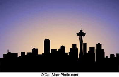 silhouette of Seattle city, USA, vector