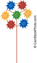 pinwheel with many bright multicolored spirals vector