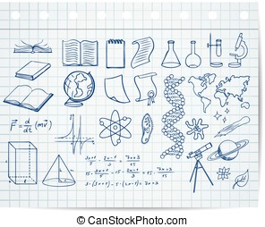 science and education symbols on copybook page vector set