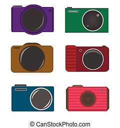 Photocamera icons - Colored photocamera icon set, Retro...