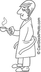 man with coffee caricature