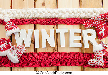 Colorful knitted clothing for keeping warm  in winter