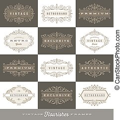 Set of vintage logo template with flourishes calligraphic...