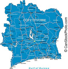 Cote d'Ivoire map - Highly detailed vector map of Cote...