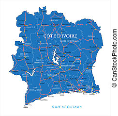Cote dIvoire map - Highly detailed vector map of Cote...
