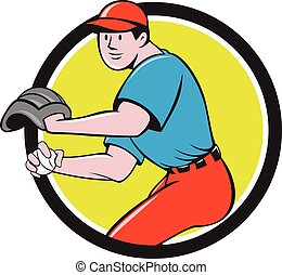 Baseball Player OutFielder Throwing Ball Circle Cartoon -...