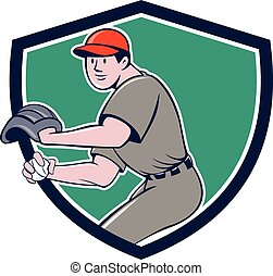 Baseball Player OutFielder Throwing Ball Crest Cartoon -...