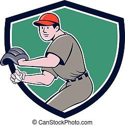 Baseball Player OutFielder Throwing Ball Crest Cartoon -...