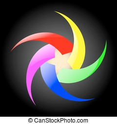 Abstract rainbow spiral sign