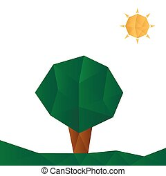 Nature - Green landscape with tree and sun Vector...