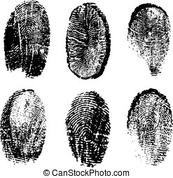 many different black fingerprints, vector
