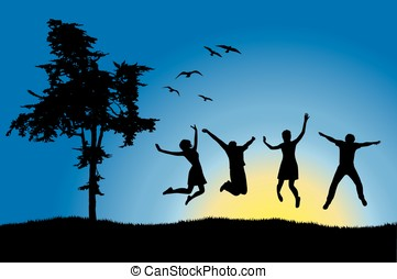 four friends jumping on field near tree, blue sky